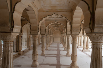 Colonnades in Public Audience Hall, Amber fort, India