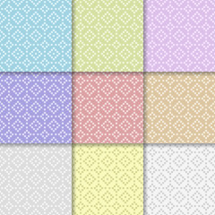 Geometric colored set of seamless patterns