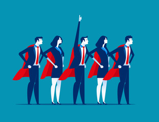 Super team of business. Character super leader. Concept business vector illustration.