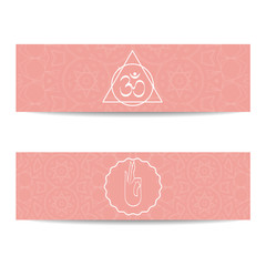 Search photos yoga banner template yoga banner template set of horizontal pink flyers with chakra and mandala symbols design stopboris Gallery