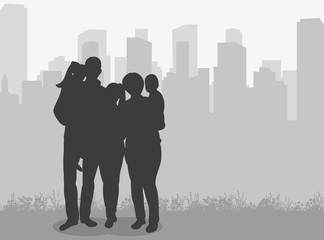 isolated, silhouette of family on city background