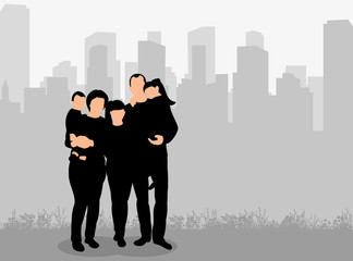 Vector, isolated, silhouette of family on city background