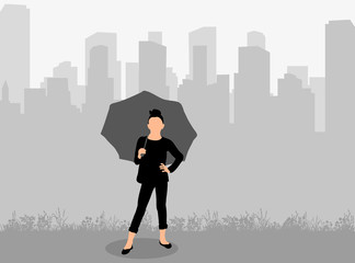 Vector, isolated, silhouette girl with umbrella