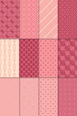 Red geometric seamless patterns. Large set