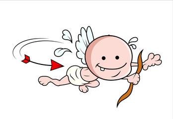 Small Cupid Running from Arrow