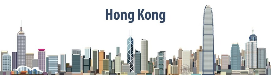 vector city skyline of Hong Kong