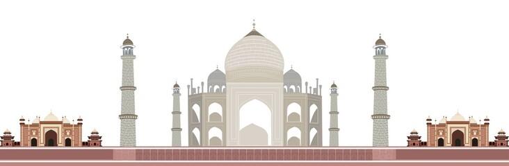 vector illustration of Taj Mahal in Agra