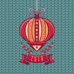 Chinese Flashlight. Greeting Card. Winter Holidays.