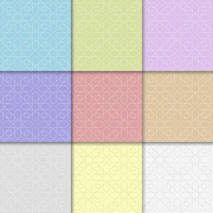 Colored geometric backgrounds. Seamless patterns