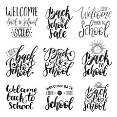 Back To School hand lettering prints set. Vector calligraphic collection for educational poster, banner etc.