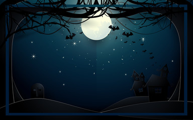 Dark castle and old trees on full Moon background. Happy Halloween design illustration. Paper art and craft style