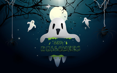 Happy halloween design illustration. White ghosts and bats flying on full moon background. Paper art and craft style