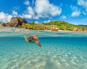 Snorkeling woman exploring beautiful ocean sealife