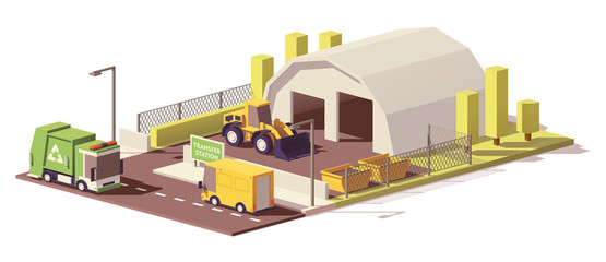 Vector low poly waste transfer station