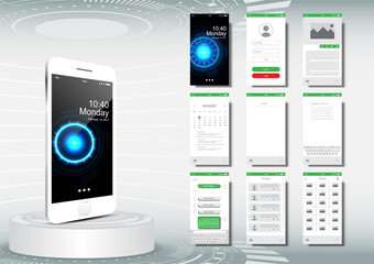 UI, UX for mobile application template, clean design green color