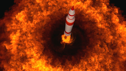 3D Illustration of an intercontinental ballistic missile launched from an underground silo