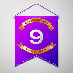 Realistic Purple pennant with inscription Nine Years Anniversary Celebration Design on grey background. Golden ribbon. Colorful template elements for your birthday party. Vector illustration