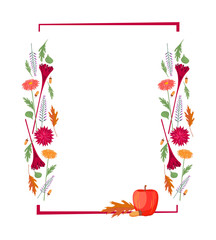 Colorful set - autumn geometric frame with autumn flowers, plants, fruits. Woolflower, chrysanthemum, dahlia, heather, apple, oak leaves and acorns, vector drawing, isolated on background.