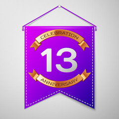 Realistic Purple pennant with inscription Thirteen Years Anniversary Celebration Design on grey background. Golden ribbon. Colorful template elements for your birthday party. Vector illustration
