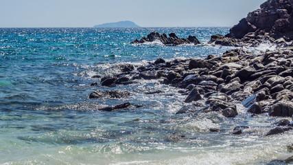 Seascape nature. Rock coastline and clear blue sea.
