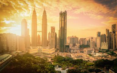 Canvas Prints Kuala Lumpur Cityscape of Kuala lumpur city skyline at sunset with sunlight in Malaysia.
