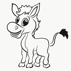 Children's coloring, cheerful donkey
