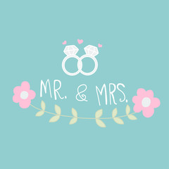Mr. and Mrs. word and wedding ring cartoon vector illustration