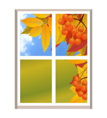 Window with a landscape autumn view, branch of rowan. Fall. Illustration over white background.