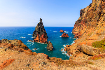 Canvas Prints Magenta High cliffs with rocks in ocean on coast of Madeira island at Ponta de Sao Lourenco, Portugal