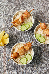 Asian style chicken skewers and rice. Healthy diet food concept.Flat lay. Top view