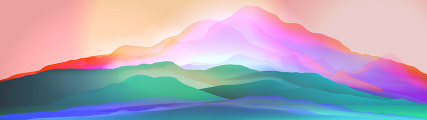 Sunset or Dawn Over Silk Mountains Landscape Panorama - Vector Illustration.
