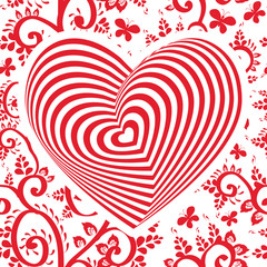 red white heart on red floral ornament background. Optical illusion of 3D three-dimensional volume. Vector