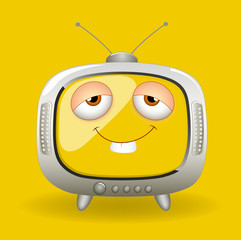 Funny Cartoon TV Vector