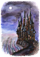 Night castle. Watercolor. Eps 8