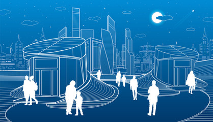 Modern architecture. Entrance to the underpass. Futuristic urban illustration. People walking. Airplane fly. White lines on blue background, vector design art