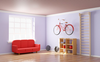 home gym with bicycle