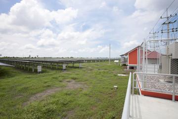 Solar panels in solar farms blue sky background.