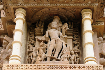 India, Sculptures religious erotic sybmboli of the Indian faith on walls of temples in Khujaraho temples. Madhya Pradesh