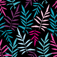 Seamless pattern with leafs tropical fern palm for fashion textile or web background. Magenta pink purple sky blue aqua silhouette on black background. Vector