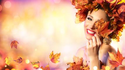 Happy Model Woman In Autumn Leaves