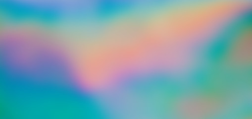 Holographic background, iridescent gradients in beautiful shades of pink, green, orange, yellow, blue and other dreamlike colors. Perfect as wallpaper or backdrop. Aspect ratio: 16:9