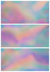 Set of 3 holographic background, iridescent gradients in beautiful shades of pink, green, orange, yellow, blue and other dreamlike colors. Perfect as wallpaper or backdrop. Aspect ratio: 16:9