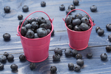 Black ripe berries lie in a colored bucket and are scattered on a wooden board