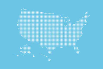 Dotted style map of USA and blue background