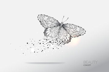 Abstract vector illustration of butterfly moving.