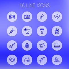 Set Of 16 Cheerful Outline Icons Set.Collection Of Stars, Jester, Electro And Other Elements.