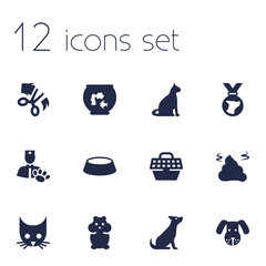 Set Of 12 Animals Icons Set.Collection Of Medallion, Pet Crate, Pile And Other Elements.