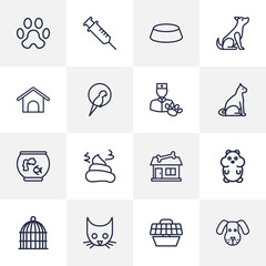 Set Of 16 Pets Outline Icons Set.Collection Of Bowl, Pile Of Poo, Vaccination And Other Elements.