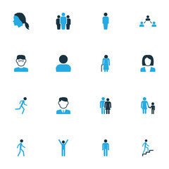 Person Colorful Icons Set. Collection Of Happiness, Female, Old And Other Elements. Also Includes Symbols Such As Company, Run, Profile.