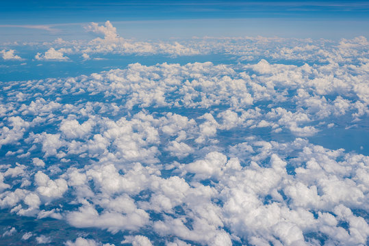 The Altocumulus cloud formation view from aircraft window